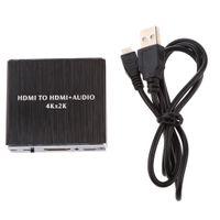 HDMI auf HDMI Audio Extractor Splitter Adapter 4Kx2K SPDIF Output 3.5mm Audioausgang 2CH/5.1CH Pass Inkl. USB-Kabel