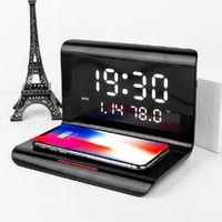 3 in1 USB LED Wecker Uhr Alarm mit Kabelloser Ladestation 10W Qi Wireless Digital LED-Anzeige für Zeit /Temperatur/Kalender Schwarz