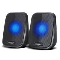 2.0 Stereo-Lautsprecher mit LED-Hintergrundbeluchtung für PC Laptop Smartphone 2x2W RMS USB AUX Kompakt