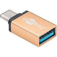 USB-C™/USB A OTG Super Speed Adapter für den Anschluss von Ladekabeln 3.0, gold, Gold