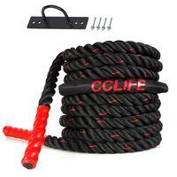 Schlachtseil Trainingsseil Sportseil Schlagseil 9m 15m Battle Ropes Schwungseil, Größe:9m schwarz-rote Seile. mit Halterung