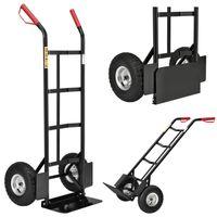 Juskys Sackkarre Basic klappbar | 100 kg belastbar | große Luftreifen | Kunststoff Griffe | Stahl Rahmen | Transportkarre Karre