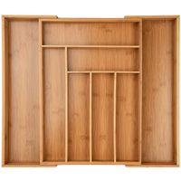ONVAYA® Ausziehbarer Besteckkasten aus Bambus | Besteckeinsatz | Schubladeneinsatz | Vintage Design