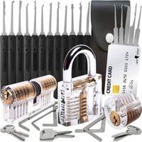 30-teiliges Lockpicking Set mit 3 Transparenten Übungsschlössern + Dietrich-Set in Kreditkartengröße