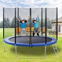 Merax Outdoor Gartentrampolin Ø 305 cm inklusive Sprungtuch aus EVA-Schaumstoffpolsterung+Sicherheitsnetz+Leiter, bis zu 150 kg, UV-beständig, Blau