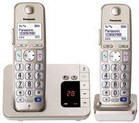 Panasonic KX-TGE222GN Schnurlostelefon Seniorentelefon mit AB + 2. Mobilteil champagner gold