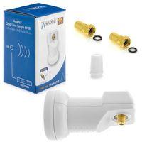 Anadol Gold Line Single LNB 0.1dB Digital für 1 Teilnehmer Direkt Anschluss 1fach FULL HD TV 3D 4K + Kontakte vergoldet + Wetterschutz (ausziehbar) im SET mit 2 F-Stecker vergoldet GRATIS