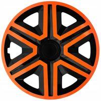 """NRM Radkappen Action, Orange-Schwarz 15"""" Zoll. (4 x Universal Radzierblenden/Radkappen)"""