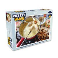 Puzzle 500 Teile - Käsefondue mit Brot und Kartoffeln
