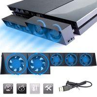 Lüfter für PS4, Externer USB-Kühler 5 Lüfter Turbo Temperaturregelung Lüfter für Sony Playstation 4 Gaming Console