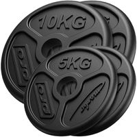 Marbo Sport 30 kg Olympia Hantelscheiben Set aus Gusseisen Guss Gewichte mit ø50/51 mm Bohrung / 2 x 10 kg + 2 x 5 kg
