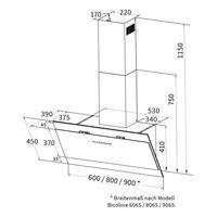 Dunstabzugshaube 80cm BICOLORE807SM RGBW Ambientebeleuchtung