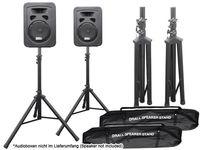 2 x Lautsprecher Stative mit 2 x Transport Taschen für PA, Disco, Live-Event, DJ Modell: BS3x2_BSTx2