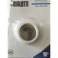 Bialetti 3 Dichtungen und 1 Filter für Edelstahl Espressokocher 1/2 Tassen