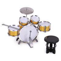 Kinder Kinder Schlagzeug Musikinstrument-Spielzeug 5 Drums mit kleinen Becken Hocker Drum Sticks fuer Jungen Maedchen