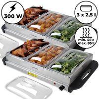 Jago® Buffetwärmer - 2er Set, 3x2.5L, elektrisch, mit Heizplattenfunktion, Temperaturregler, Edelstahl - Warmhaltegerät, Speisewärmer, Warmhalteplatte, Warmhaltebehälter