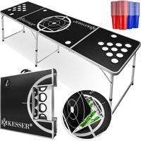 KESSER® Beer Pong Tisch Set - Inkl.Eisfach + 100 Becher (50 Rot & 50 Blau), 6 Bälle,  + Regelwerk, Farbe:Beer Pong Ice