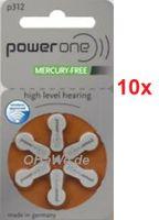 10 x 6er Blister (60 Batterien) POWER ONE Hörgeräte-Batterie Zinc-Air Typ 312 (braun) PR41