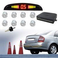 Hengda Einparkhilfe Rš¹ckfahrwarner 8 Sensoren 4 vorne 4 hinten Led display Silber Auto Rš¹ckfahrwarner