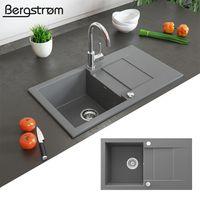 Bergström Granit Spüle Küchenspüle Einbauspüle Spülbecken 750x430 mm Grau