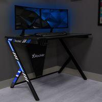 X Rocker Ocelot Aluminium Carbon Gaming Tisch mit Kabelmanagement, Headset-Ablage & Becherhalter 115 x 73,5 x 77 cm - Schwarz/Blau