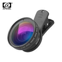 APEXEL APL-0.45WM Telefon Objektiv Kit 0.45X Super Weitwinkel & 12.5X Super Makro Objektiv HD Kamera-Objektive mit Objektiv-Clip fuer iPhone Samsung Huawei Xiaomi Mehr Smartphone