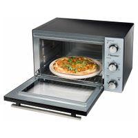 Bestron Kompakter Mini-Backofen mit Drehspieß und Pizzastein, 31 Liter, 1500 Watt, Edelstahl
