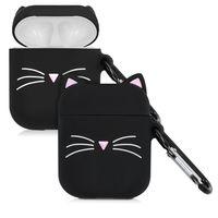 kwmobile Schutzhülle kompatibel mit Apple AirPods - Hülle Kopfhörer - Silikon Case Cover Katze Schwarz Weiß