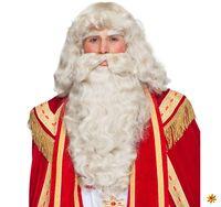Weihnachtsmann Perücke mit Bart und Augenbrauen naturfarben deluxe