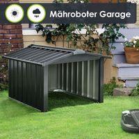 Juskys Mähroboter Garage mit Satteldach | Rasenmäher Dach Carport aus Metall | 86 × 98 × 63 cm | Sonnen- und Regenschutz für Rasenroboter | anthrazit