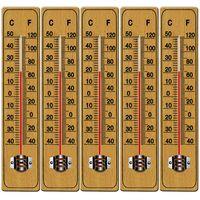 Deuba 5x Thermometer Außen & Innen Holz Glas Analog mit Celcius Fahrenheit Aufhängung Garten Haushalt Außenthermometer