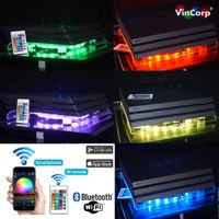WiFi Bluetooth PlayStation 4 PS4 Standard / Slim & Pro USB Design Ständer + Lüfter / Kühler in RGB Multicolor + Fernbedienung LED Stand Unterlage