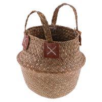 2 Stück Hand gewebt Korb mit Griff faltbar Blumentöpfe Picknick Strandtasche weide Blume Pflanzkübel