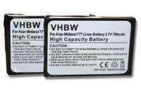 vhbw 2x Akku kompatibel mit Alan / Midland 777, PMR446, PMR446+ Funkgerät, Walkie Talkie (700mAh 3,7V Li-Ion) - Ersatz für Alan FB-777