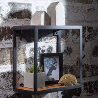 FineBuy Wandregal PURI 35 x 18 x 35 cm Sheesham Massivholz   Bücherregal hängend   Metallregal mit Echtholz Regalboden   Kleines Holzregal quadratisch   Nachbildungegal Würfel Hängeregal Industrial Wanddeko