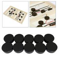 Schnelle Sling Puck Spiel Stück Holz Bord Tisch Hockey Spiel Stück Chessman Schwarz 2,4 x 0,7 cm