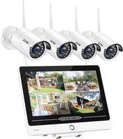 ZOSI Außen Video Wireless Überwachungsset mit 12,5 Zoll Monitor, 4X 1080P Funk Kamera und 1TB Festplatte für Haussicherheit