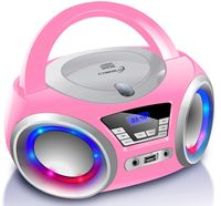 Cyberlux CD-Player mit LED-Beleuchtung | Tragbares Stereo Radio | CD-Player | Kinder Radio | Stereo Radio | Stereoanlage | Pink