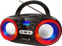 Cyberlux CD-Player | CD-Radio | Tragbares Kinder Radio | Boom Box | CD/MP3 USB AUX IN | LED-Disco-Beleuchtung | Schwarz/Rot
