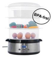 KeMar Kitchenware KFS-700 Dampfgarer | BPA-Frei | Reisschale | 3 Dämpfkörbe | 9 Liter | Turboring
