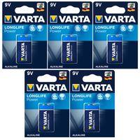 Batterien VARTA 4922, E-Block, Alkaline, 9V, LONGLIFE Power, 5er Pack
