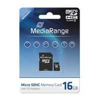 MediaRange - Flash-Speicherkarte ( microSDHC/SD-Adapter inbegriffen ) - 16 GB - Class 10 - microSDHC - Schwarz