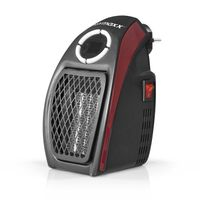 EASYmaxx elektrische Mini-Heizung 500W Schwarz/Rot Timer Display Wärme Keramik