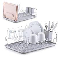 Zeller Geschirrabtropfständer, grau, Kunststoff/Metall verchromt 45,5x32,5x17,5