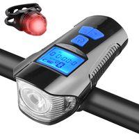 Fahrradlicht Set, USB Wiederaufladbare Fahrradlampe Frontlicht Vorne Licht Rücklicht, Fahrradbeleuchtung mit Fahrrad Tacho Wasserdicht Fahrradlichter für Mountainbike Rennräder Blau