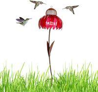 Vogelfutterspender, Stehende Blütenform Vogelfütterungsstation mit faltbarer Stange, Kreativer Vogelhäuschen Wildvogel Feeder Gartendeko (Rosa)