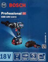 Bosch Professional Akku Schlagbohrschrauber GSB 18V-110 C, 1x 5,0 Ah Akku, 1x 3,0 Ah Akku, 18 Volt, in L-BOXX