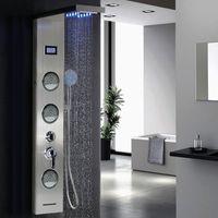 Duschpaneel Duschsäule LED Wasserfall Regendusche Massage Handbrausen Körperdusche Thermostat Edelstahl 123.5x20x15cm