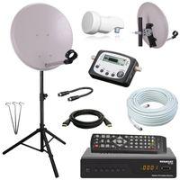 Digital Camping SAT Anlage 40 cm Spiegel + HD RECEIVER + Digitaler SAT Finder + HD single LNB + 10m Kabel + Dreibein-Stativ