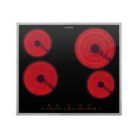 Klarstein Virtuosa 4 Prime Glaskeramik-Kochfeld , Autark , 59 cm , 4 Zonen: 6500 Watt , Zweifach-Zone , 4 Kochzonen , 9 Stufen , Timer , Edelstahlrahmen , Timer , Kindersicherung , schwarz